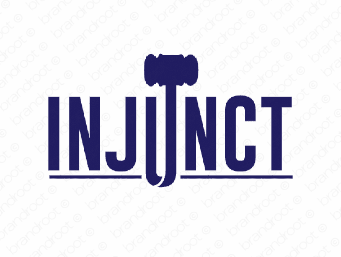 Injunct logo design included with business name and domain name, Injunct.com.