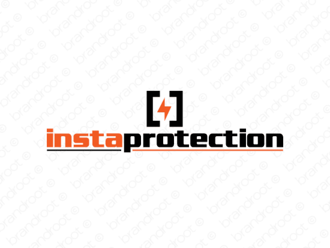 Instaprotection logo design included with business name and domain name, Instaprotection.com.