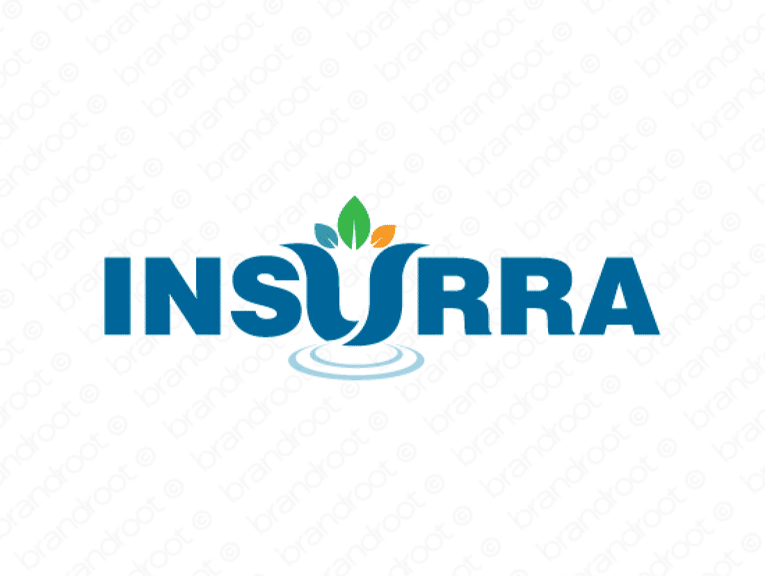 Insurra logo design included with business name and domain name, Insurra.com.