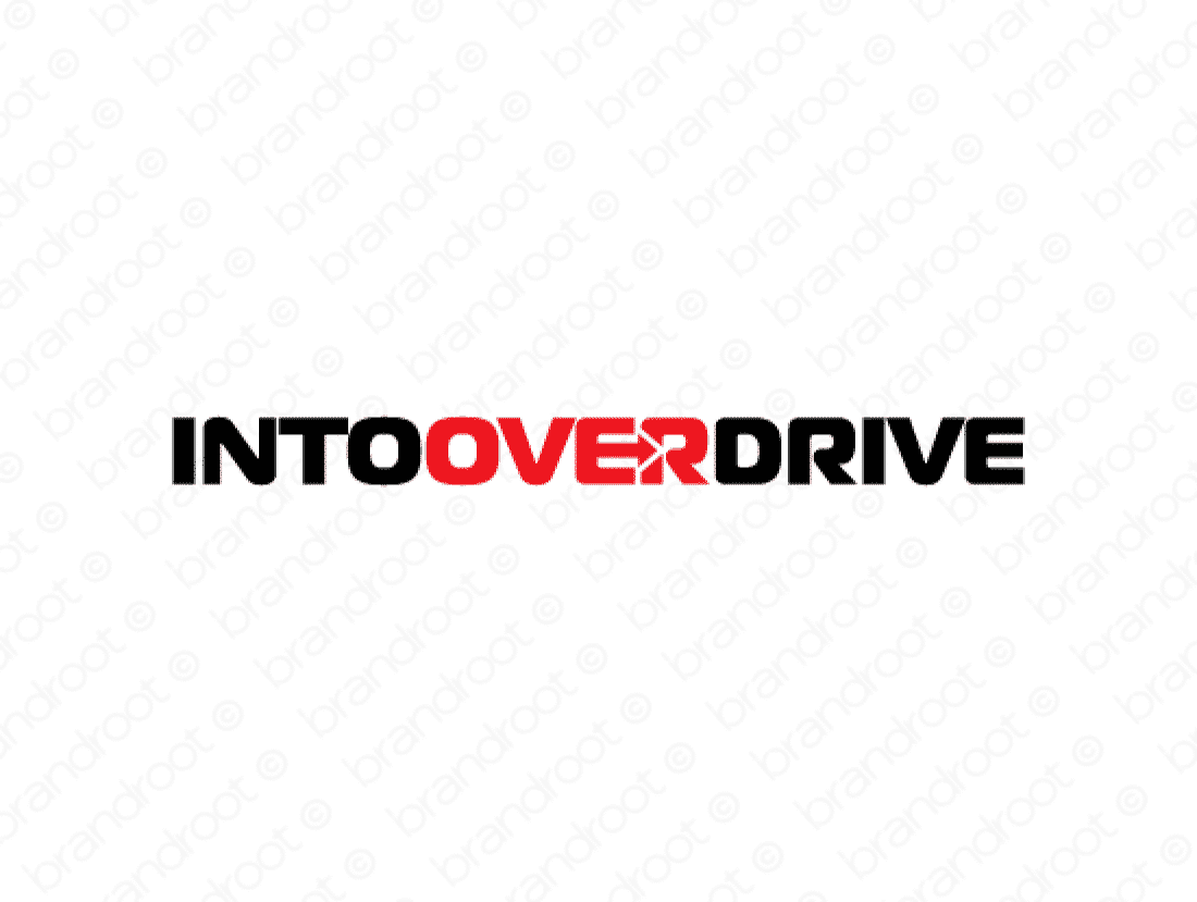 Intooverdrive logo design included with business name and domain name, Intooverdrive.com.