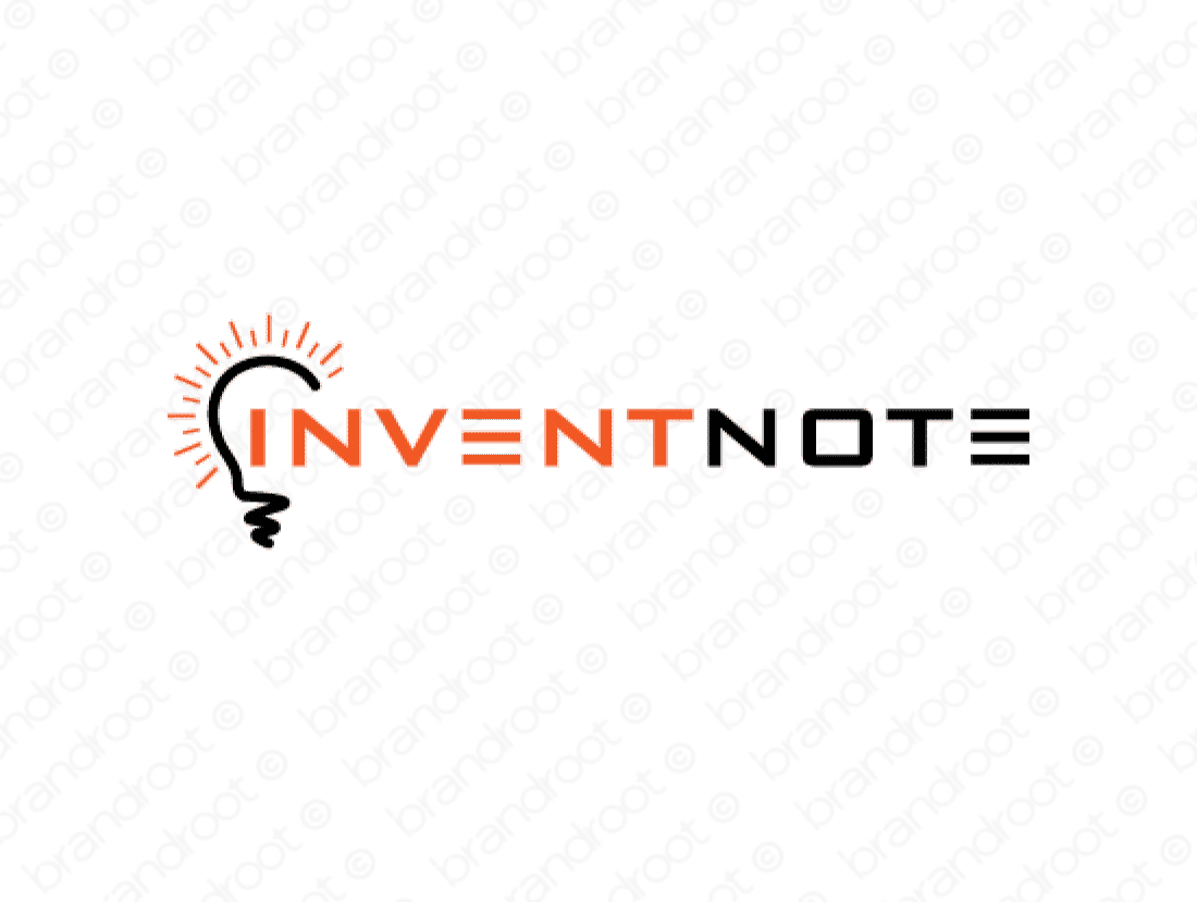 Inventnote logo design included with business name and domain name, Inventnote.com.