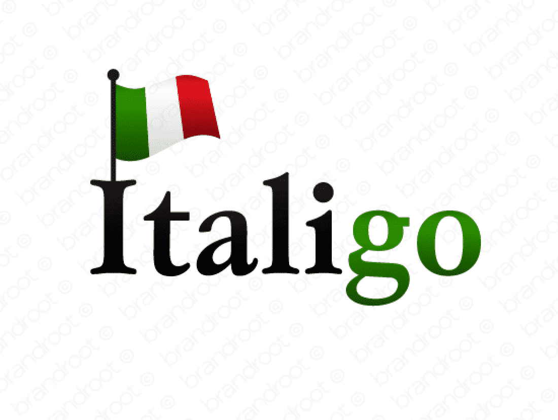 Italigo logo design included with business name and domain name, Italigo.com.