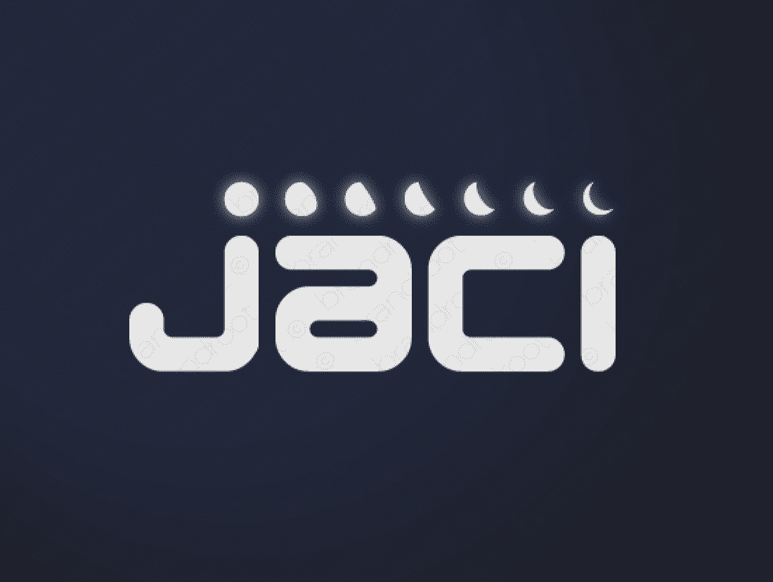 Jaci logo design included with business name and domain name, Jaci.com.