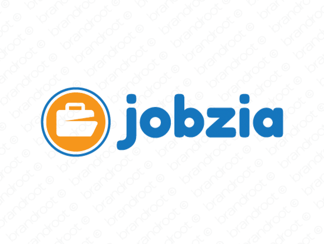 Jobzia logo design included with business name and domain name, Jobzia.com.