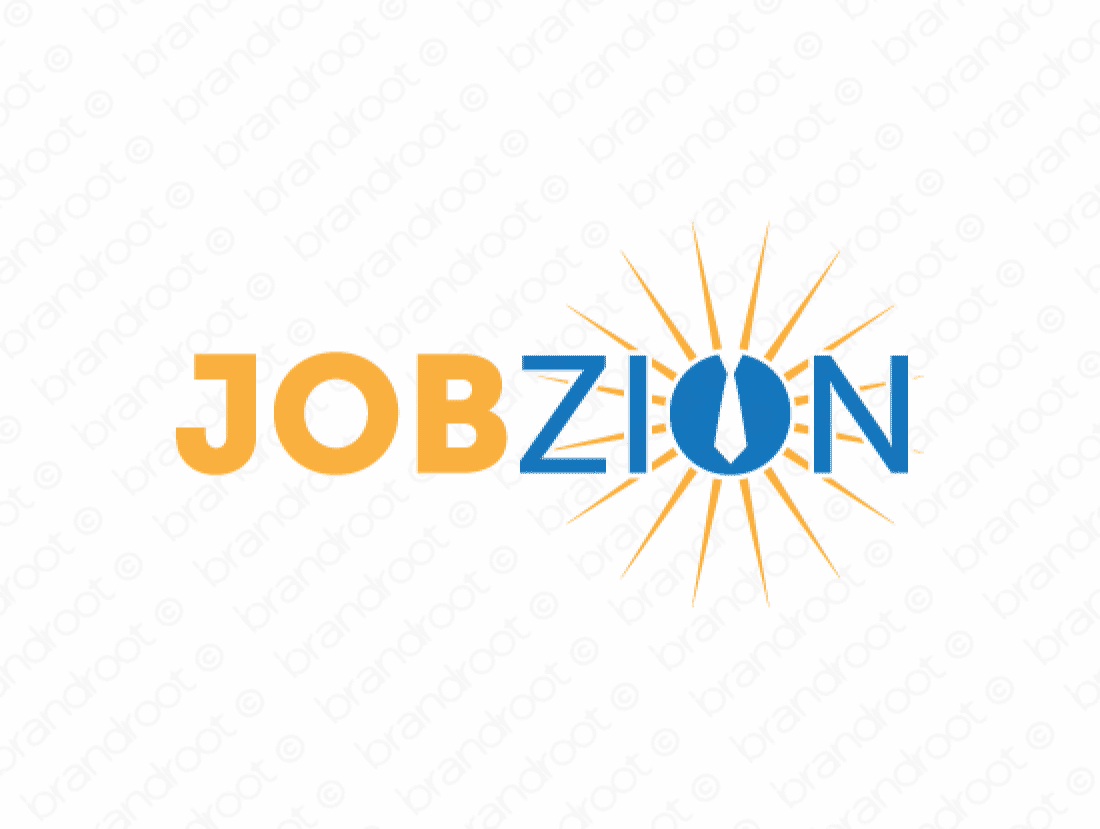 Jobzion logo design included with business name and domain name, Jobzion.com.
