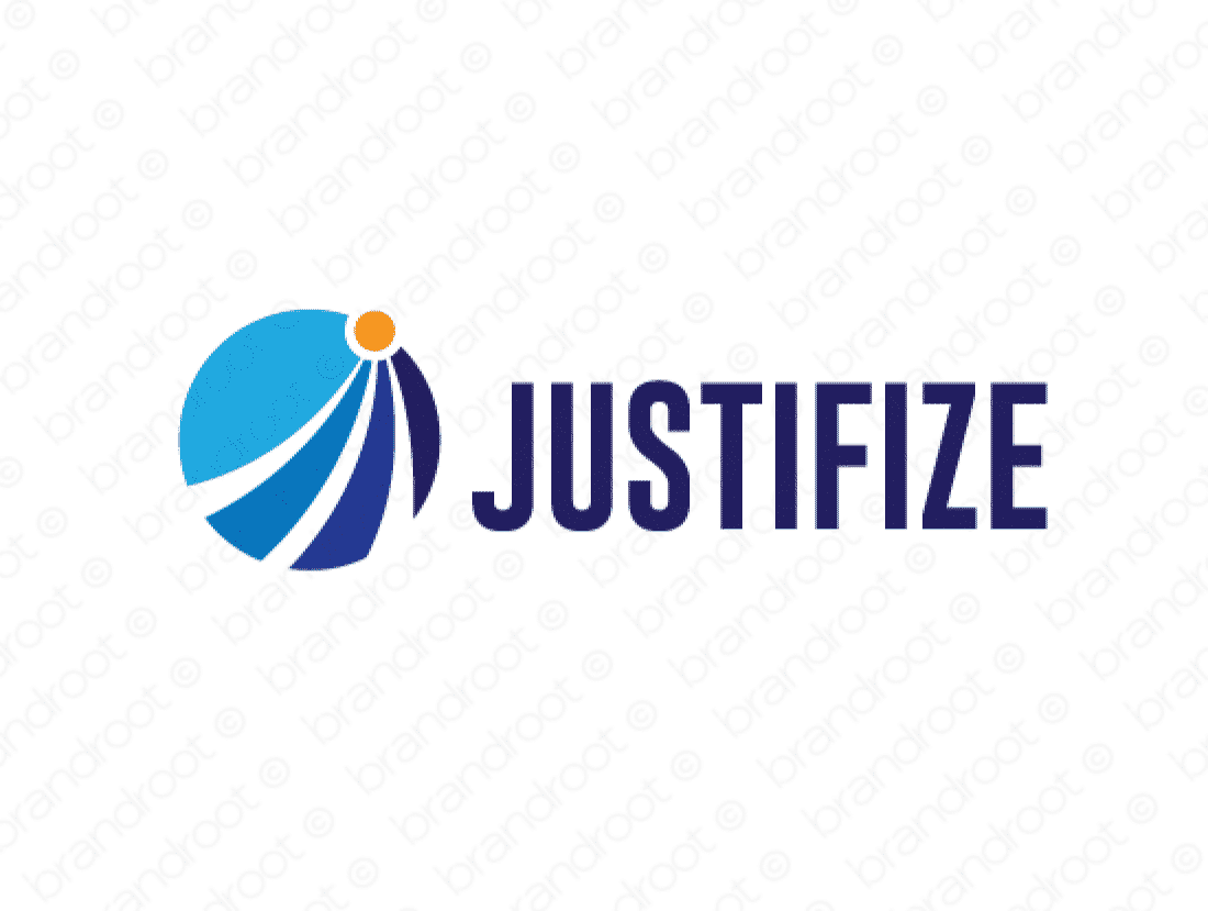 Justifize logo design included with business name and domain name, Justifize.com.