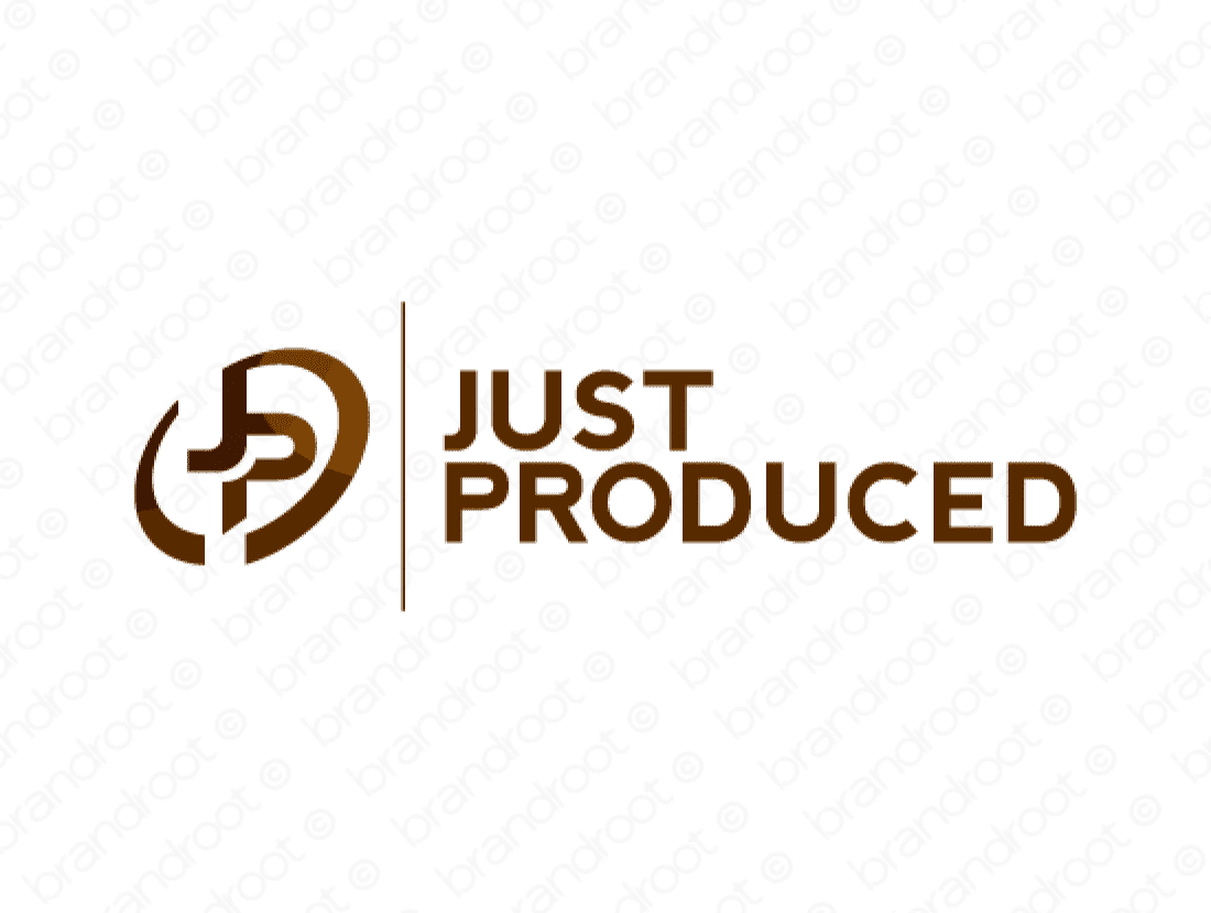 Justproduced logo design included with business name and domain name, Justproduced.com.