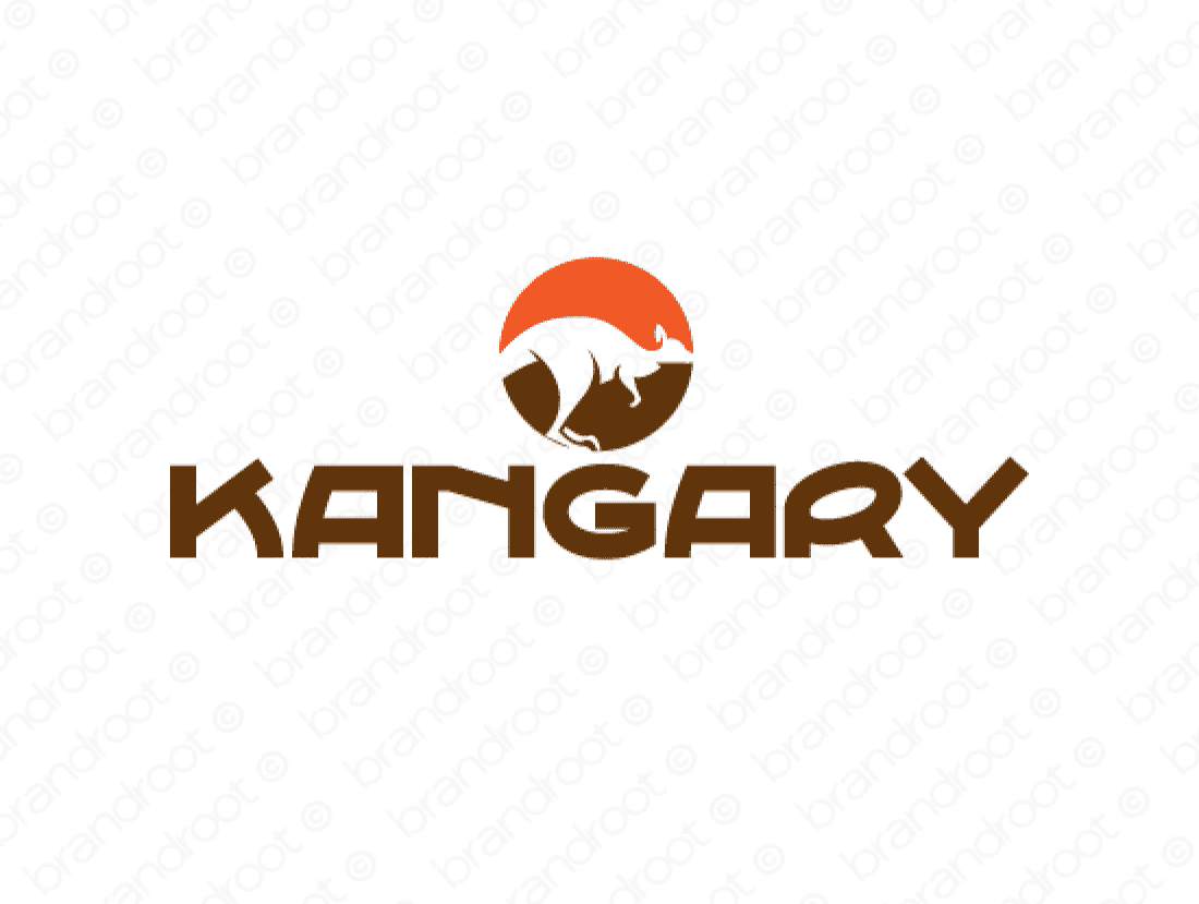 Kangary logo design included with business name and domain name, Kangary.com.