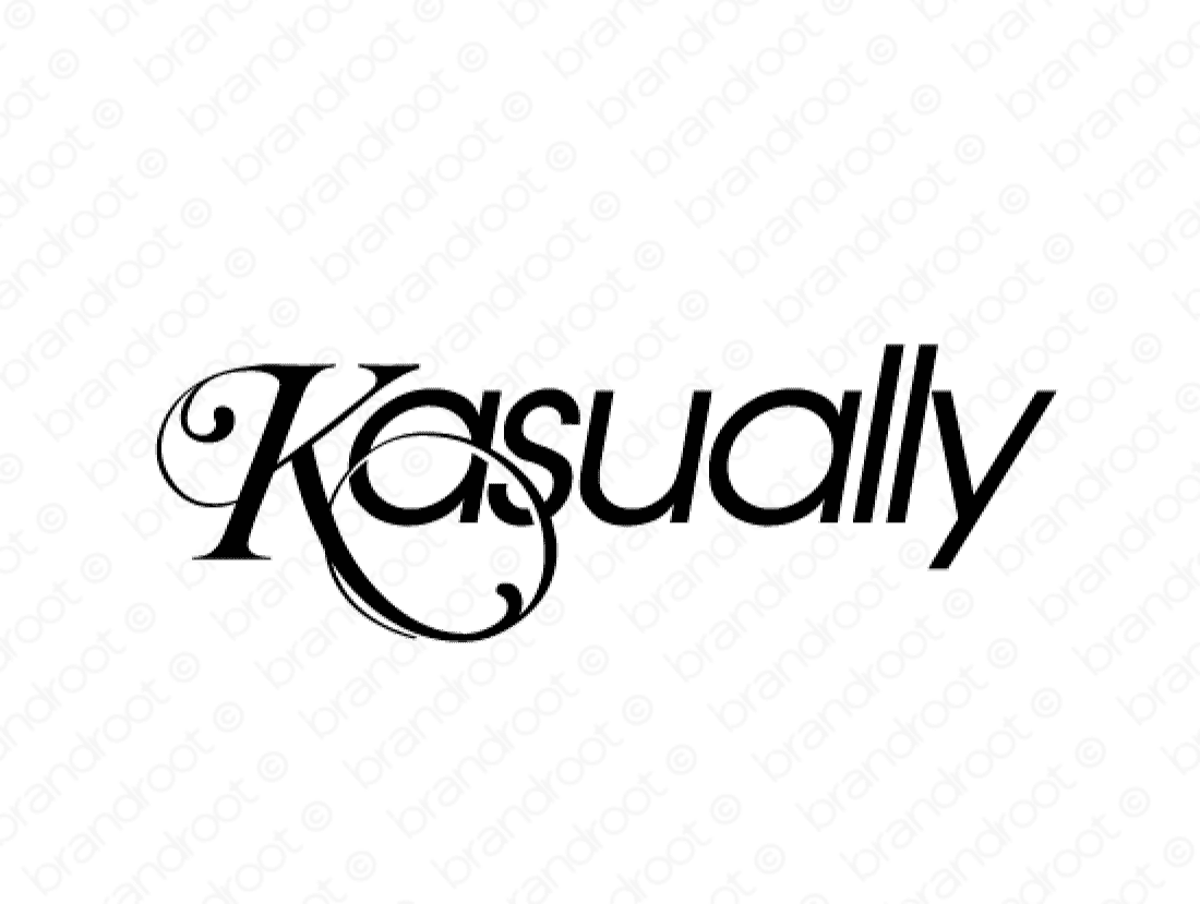 Kasually logo design included with business name and domain name, Kasually.com.