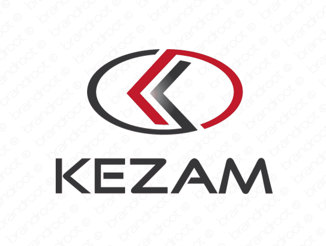 Kezam logo design included with business name and domain name, Kezam.com.