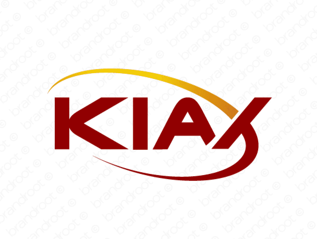 Kiax logo design included with business name and domain name, Kiax.com.