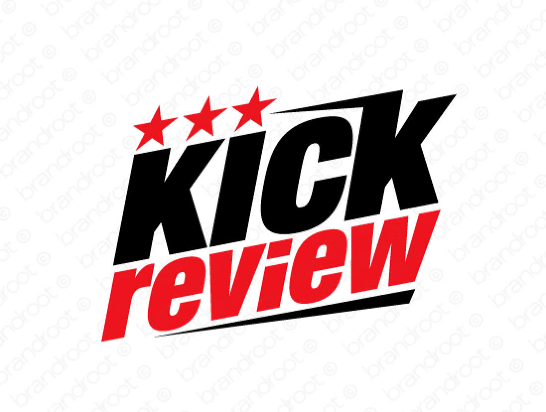 Kickreview logo design included with business name and domain name, Kickreview.com.