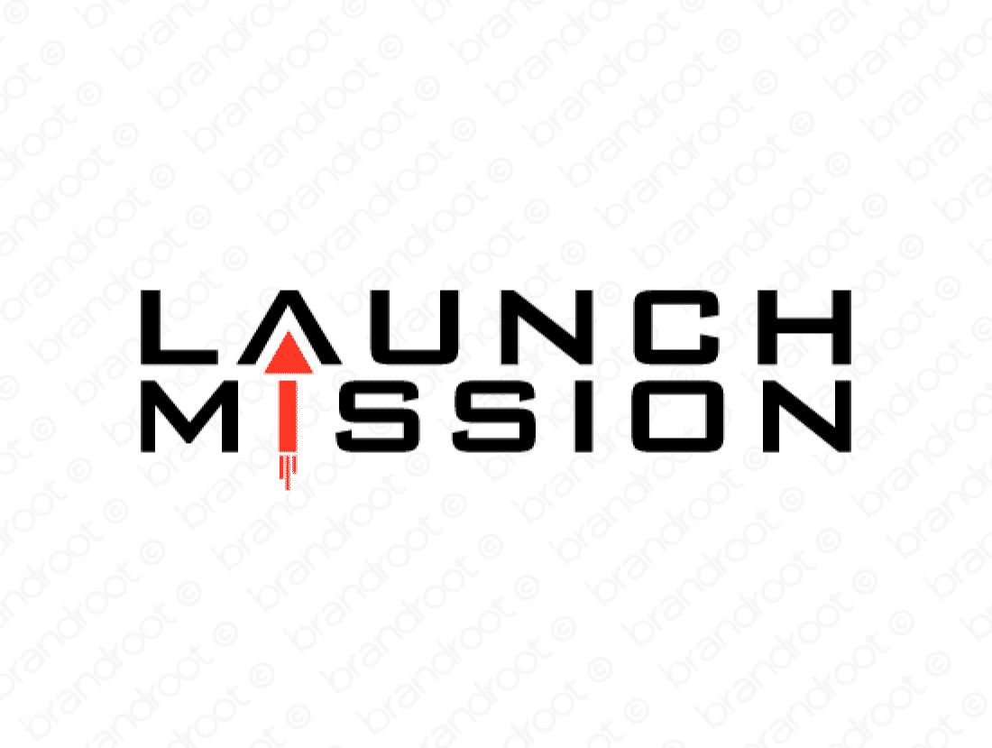Launchmission logo design included with business name and domain name, Launchmission.com.