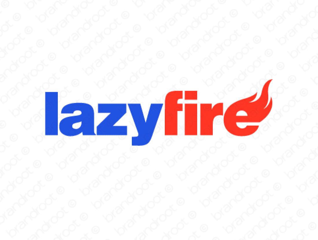 Lazyfire logo design included with business name and domain name, Lazyfire.com.
