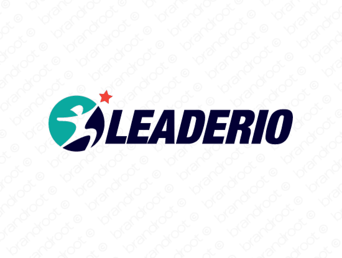 Leaderio logo design included with business name and domain name, Leaderio.com.
