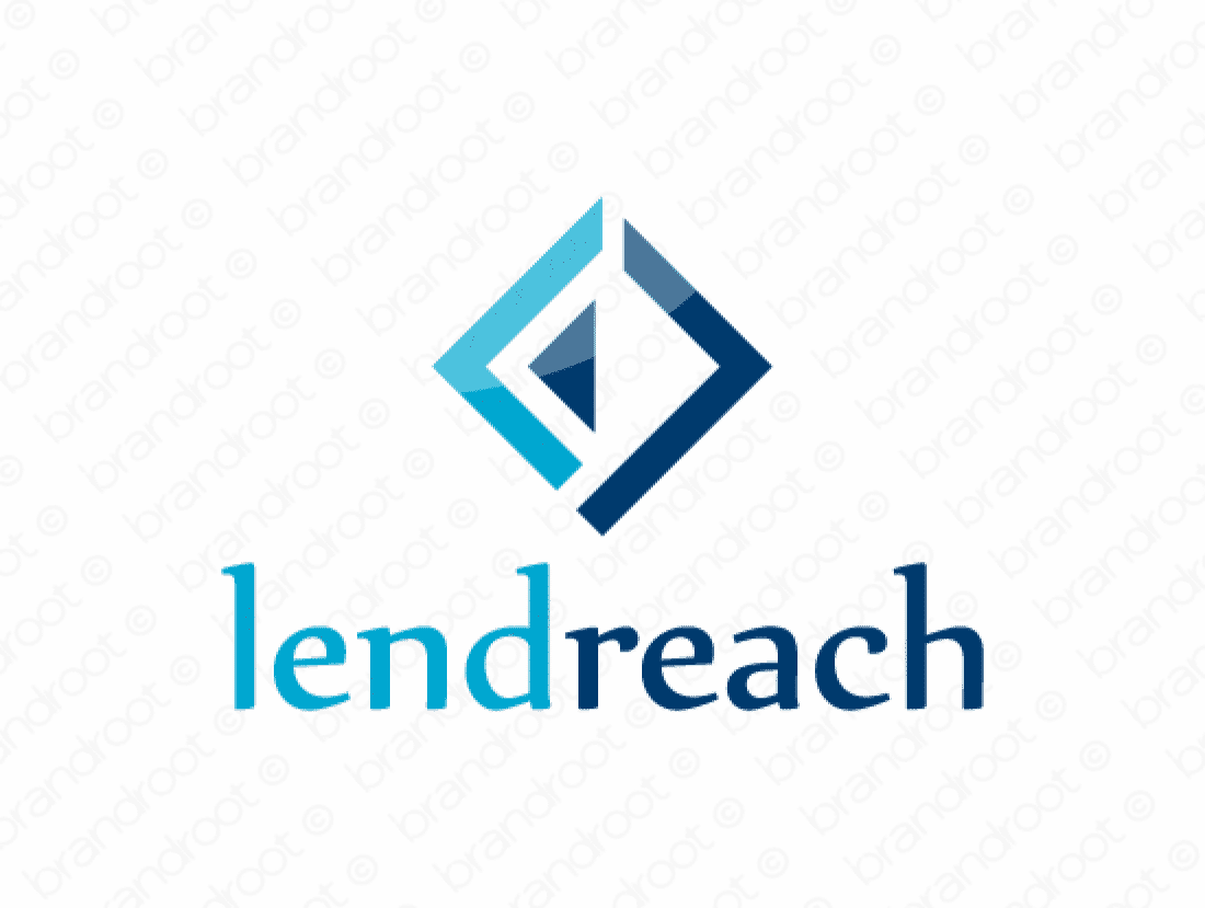 Lendreach logo design included with business name and domain name, Lendreach.com.