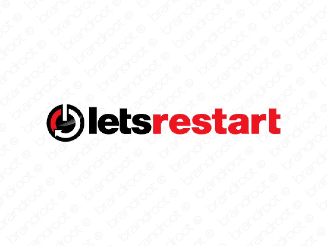 Letsrestart logo design included with business name and domain name, Letsrestart.com.