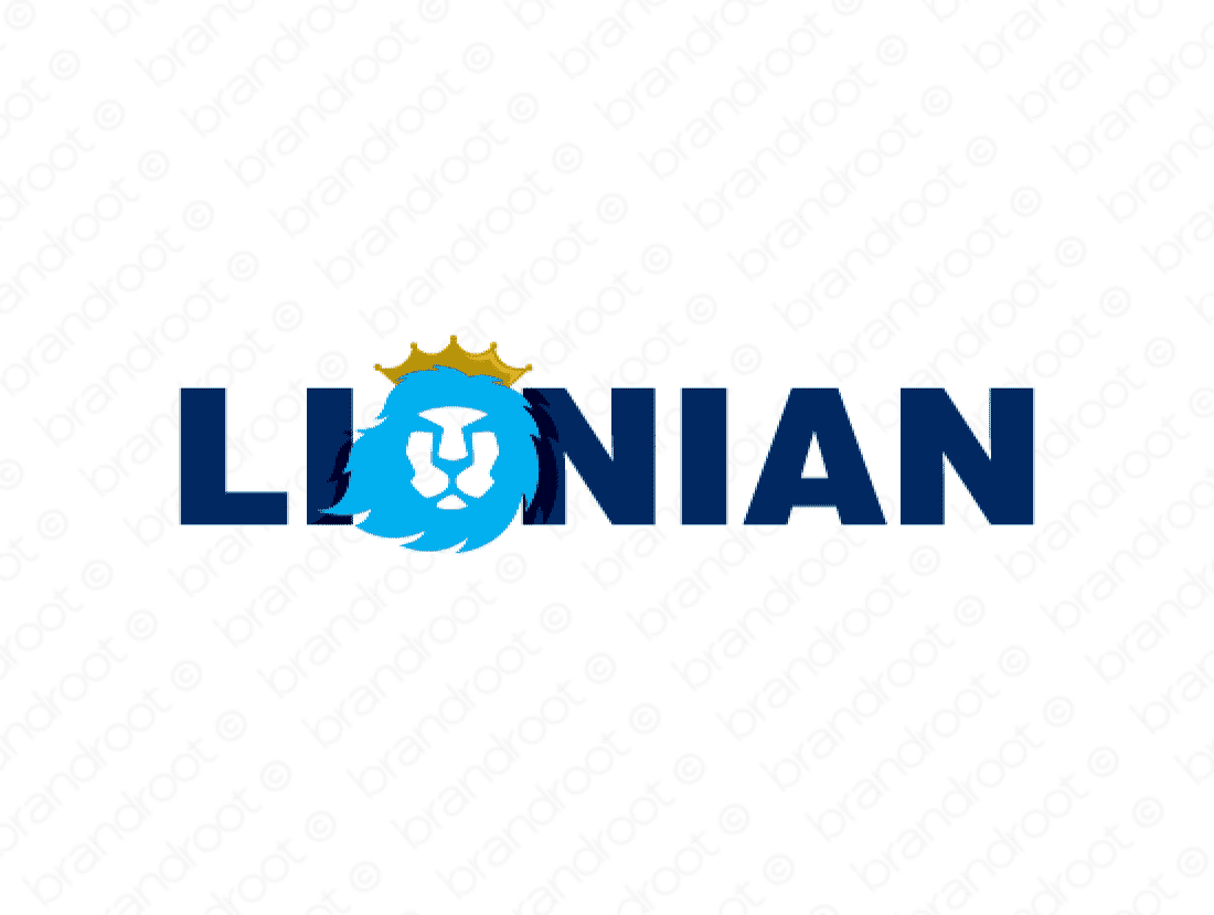 Lionian logo design included with business name and domain name, Lionian.com.