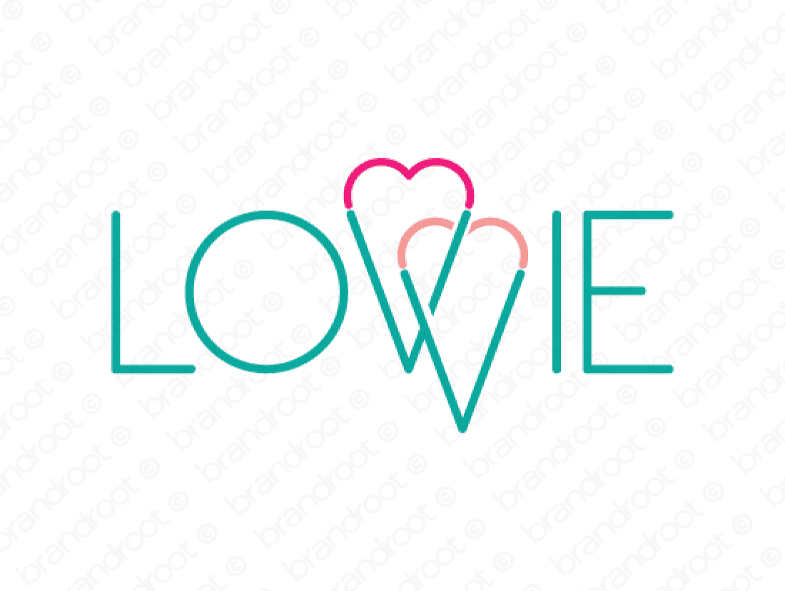 Lovvie logo design included with business name and domain name, Lovvie.com.