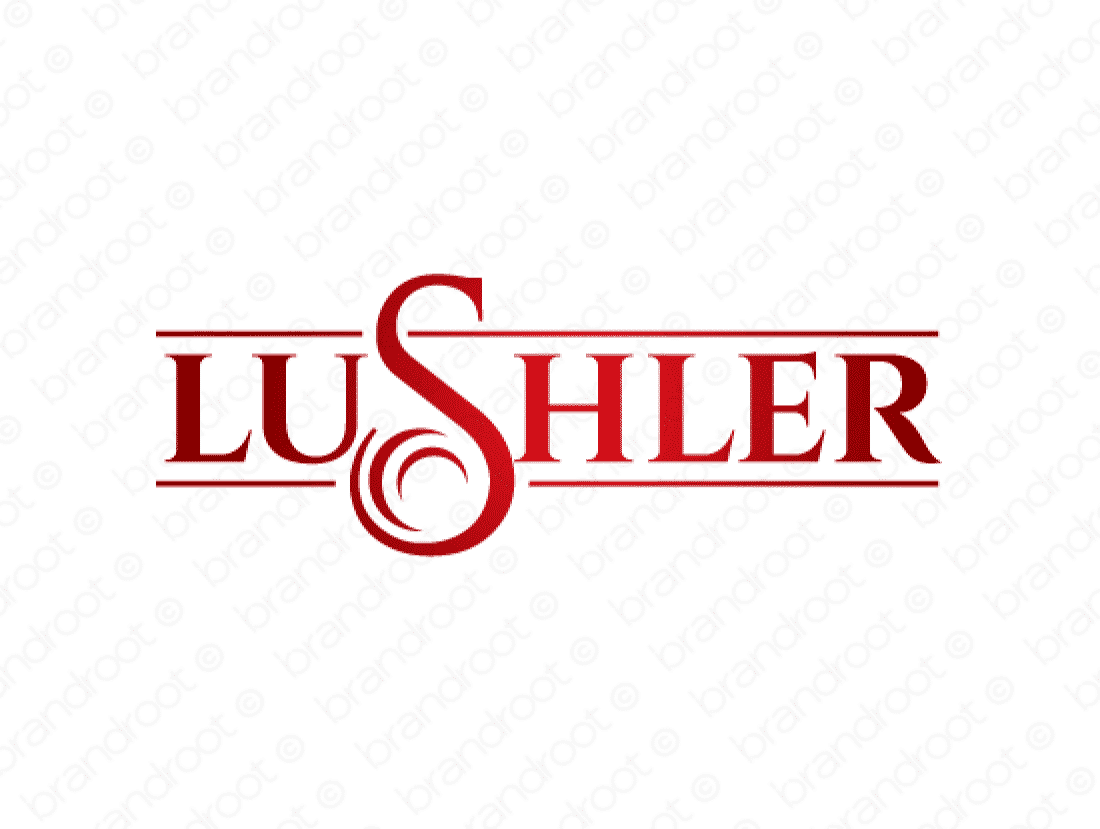 Lushler logo design included with business name and domain name, Lushler.com.