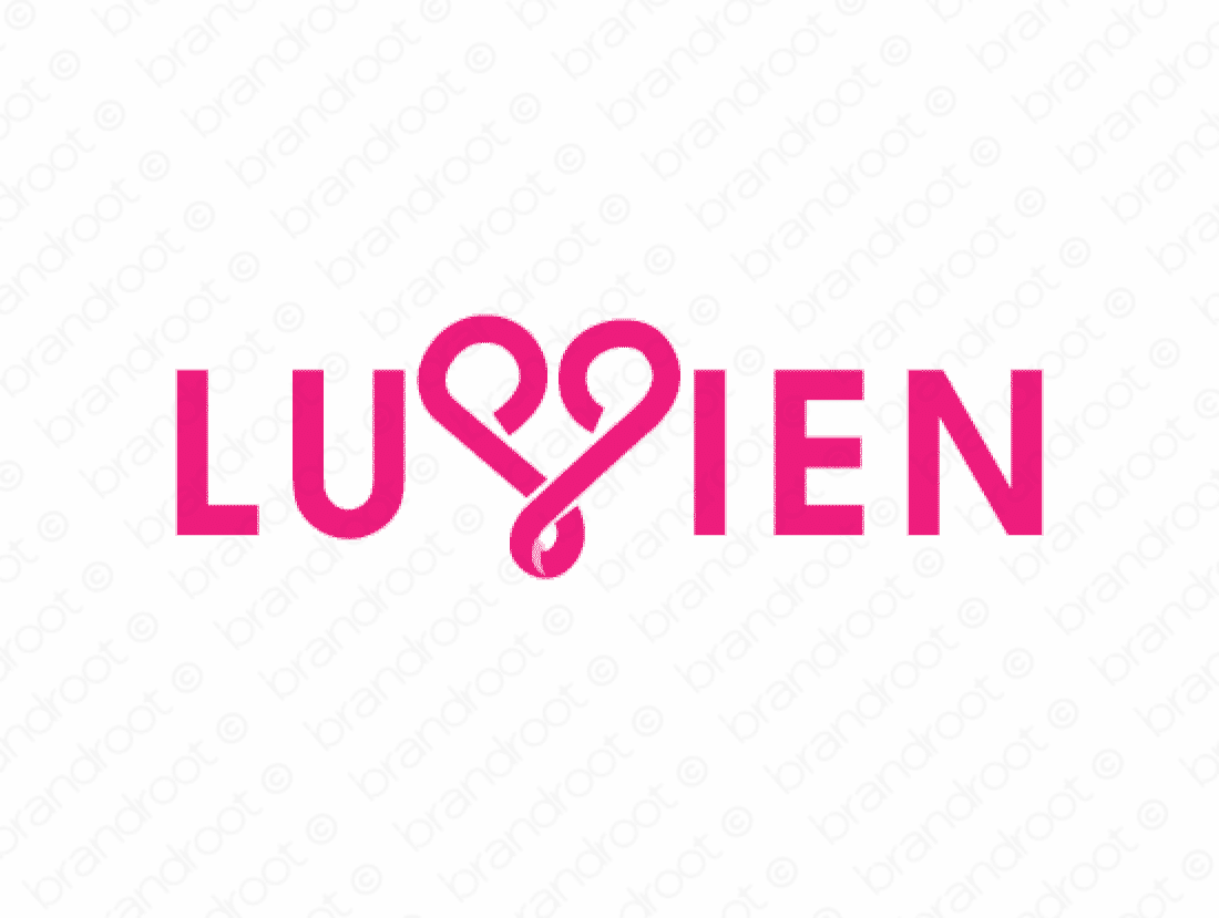 Luvien logo design included with business name and domain name, Luvien.com.
