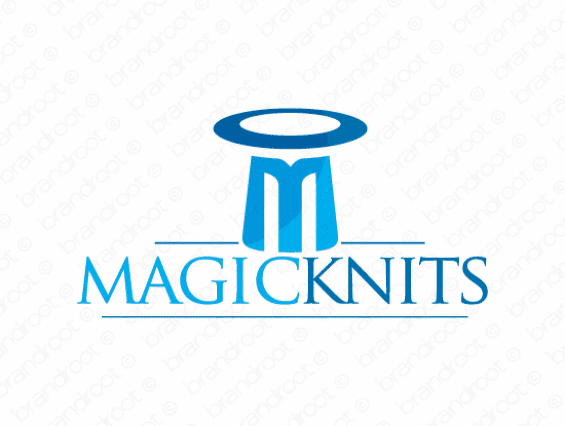 Magicknits logo design included with business name and domain name, Magicknits.com.