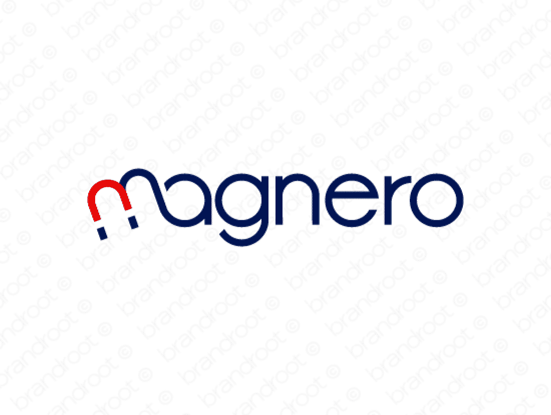 Magnero logo design included with business name and domain name, Magnero.com.