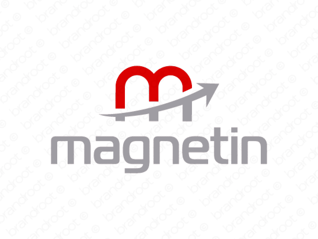 Magnetin logo design included with business name and domain name, Magnetin.com.
