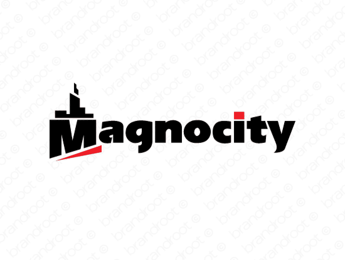 Magnocity logo design included with business name and domain name, Magnocity.com.