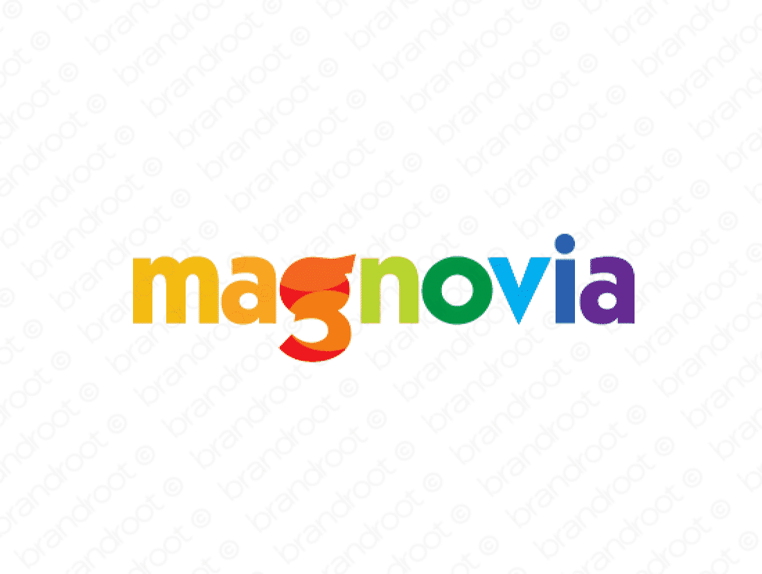 Magnovia logo design included with business name and domain name, Magnovia.com.