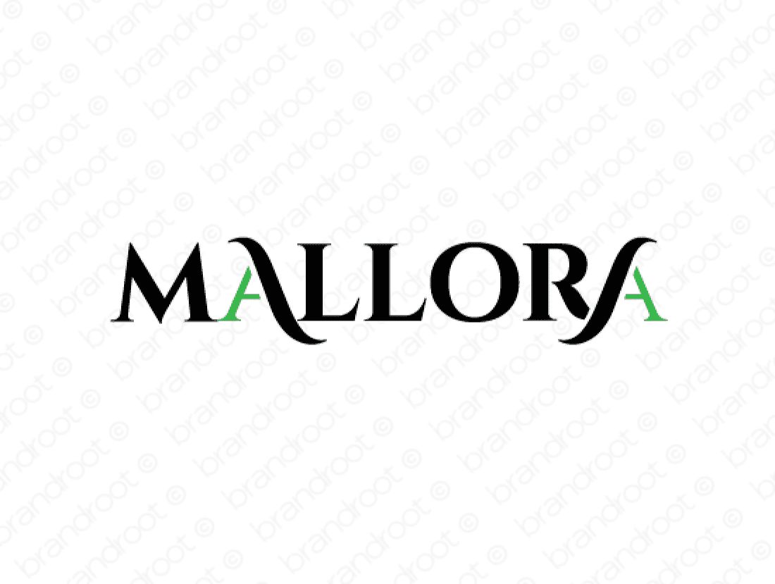 Mallora logo design included with business name and domain name, Mallora.com.