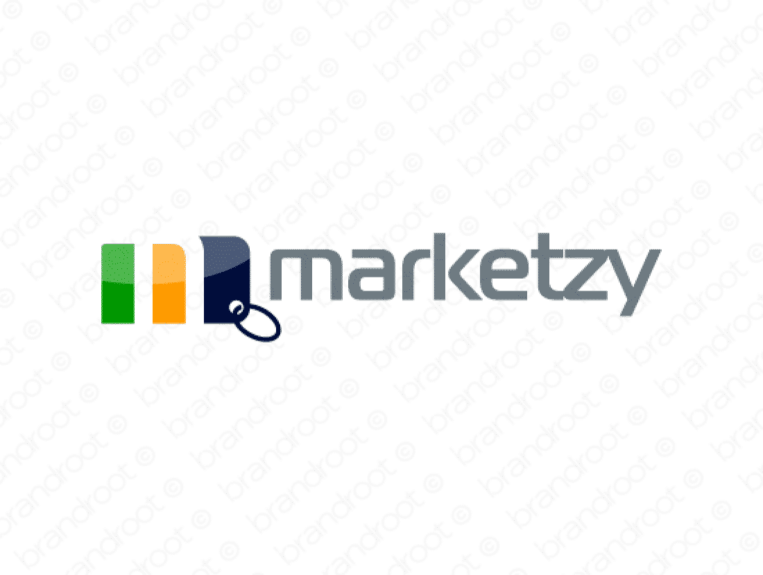 Marketzy logo design included with business name and domain name, Marketzy.com.