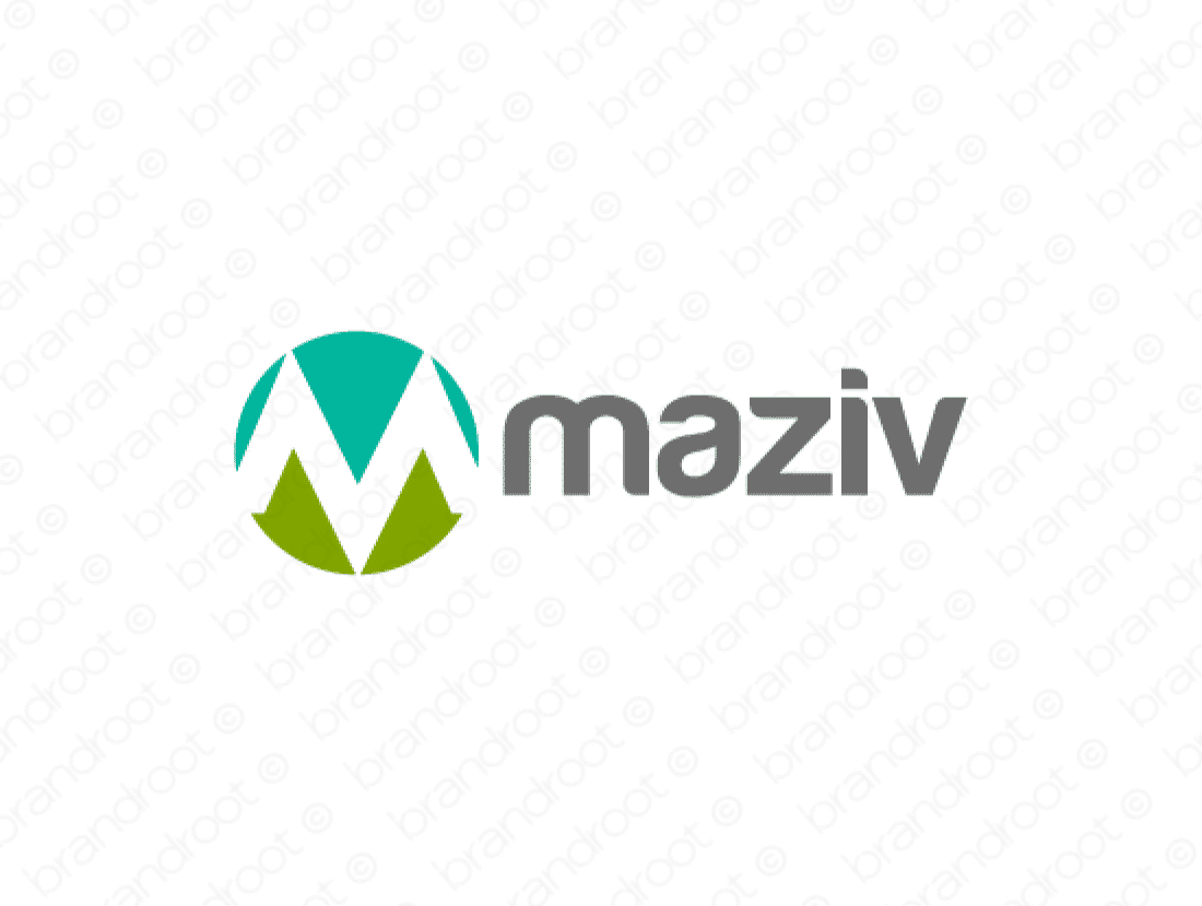 Maziv logo design included with business name and domain name, Maziv.com.