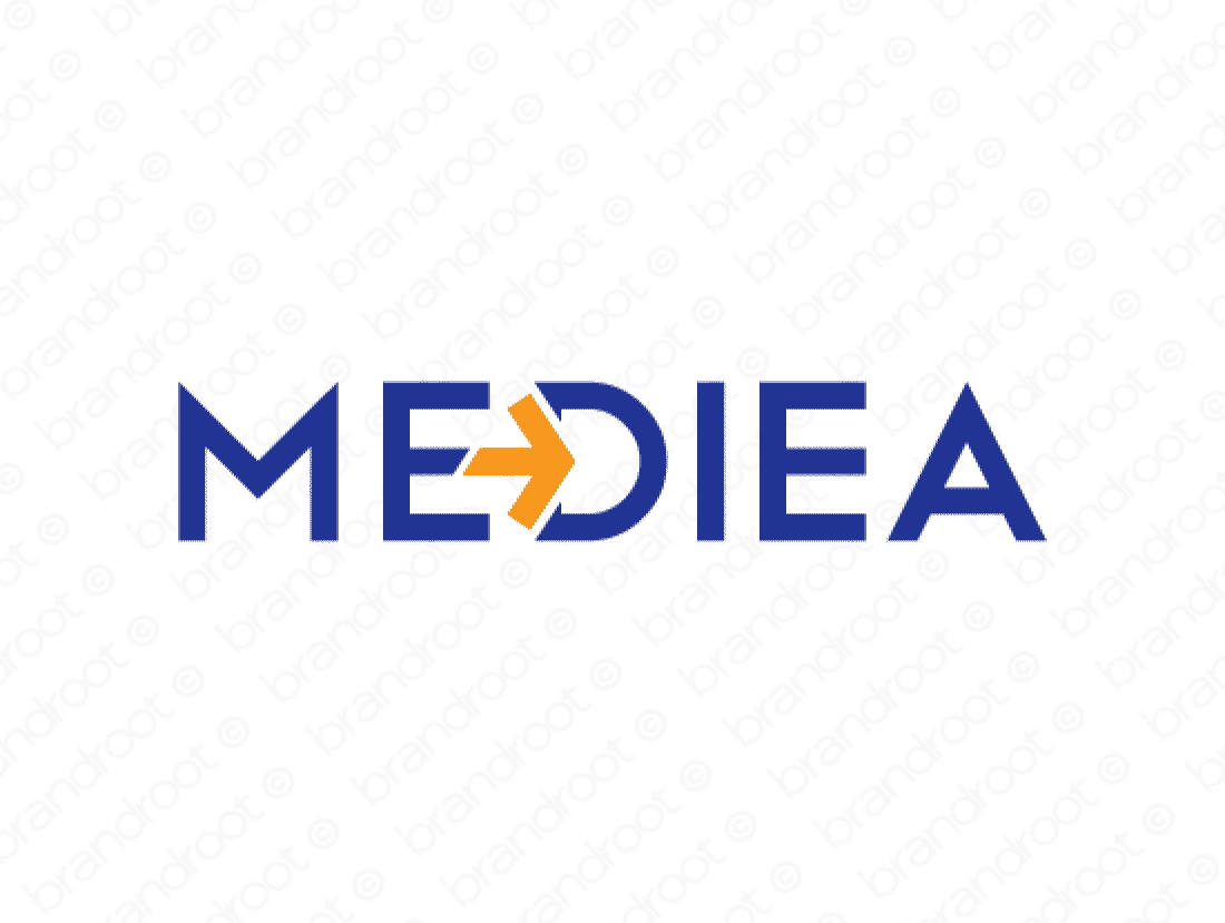 Mediea logo design included with business name and domain name, Mediea.com.