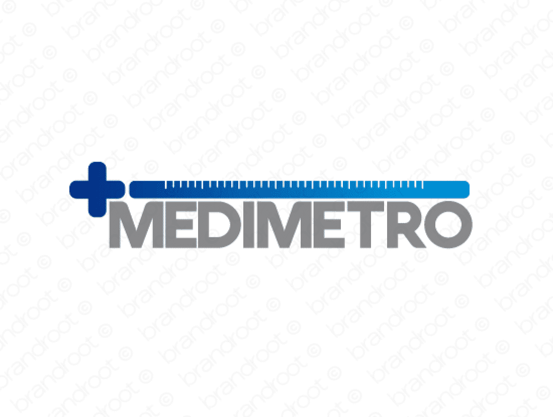 Medimetro logo design included with business name and domain name, Medimetro.com.