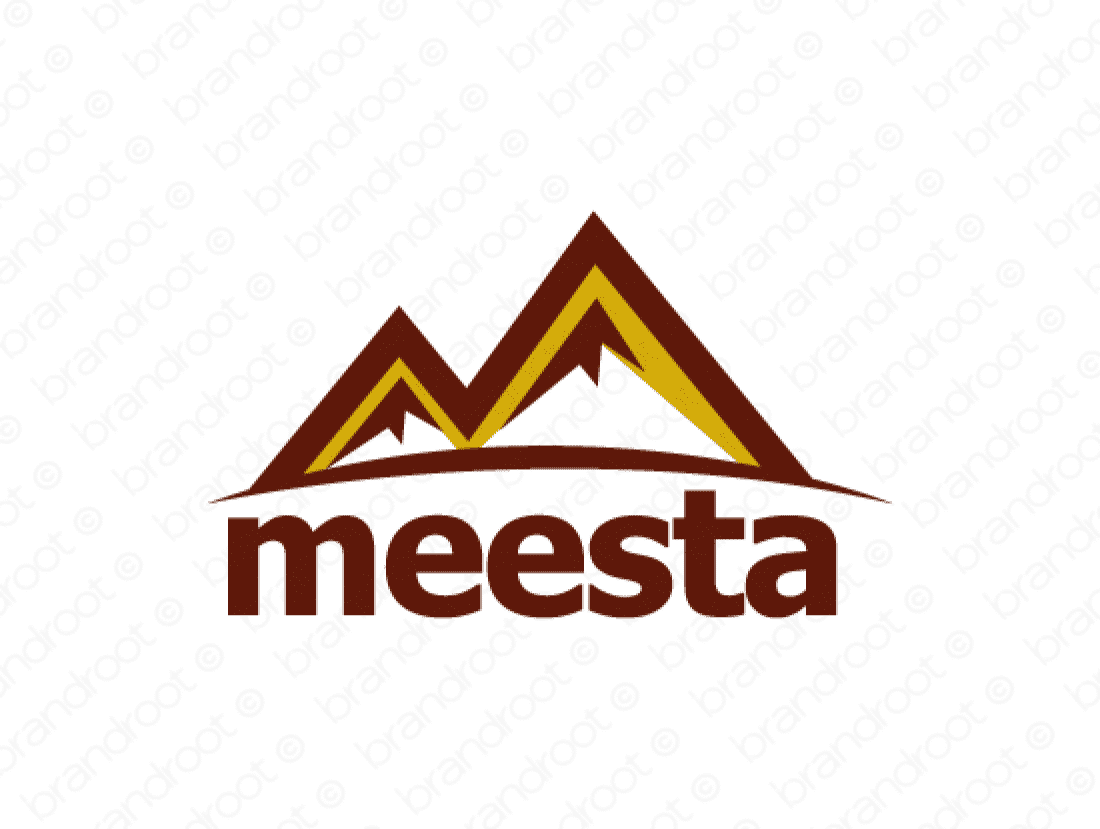 Meesta logo design included with business name and domain name, Meesta.com.