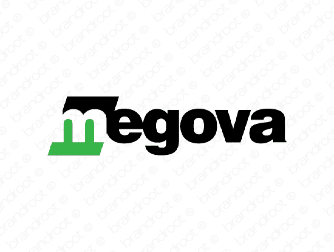 Megova logo design included with business name and domain name, Megova.com.