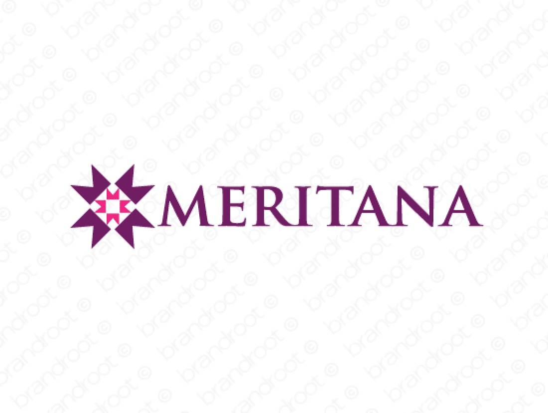 Meritana logo design included with business name and domain name, Meritana.com.