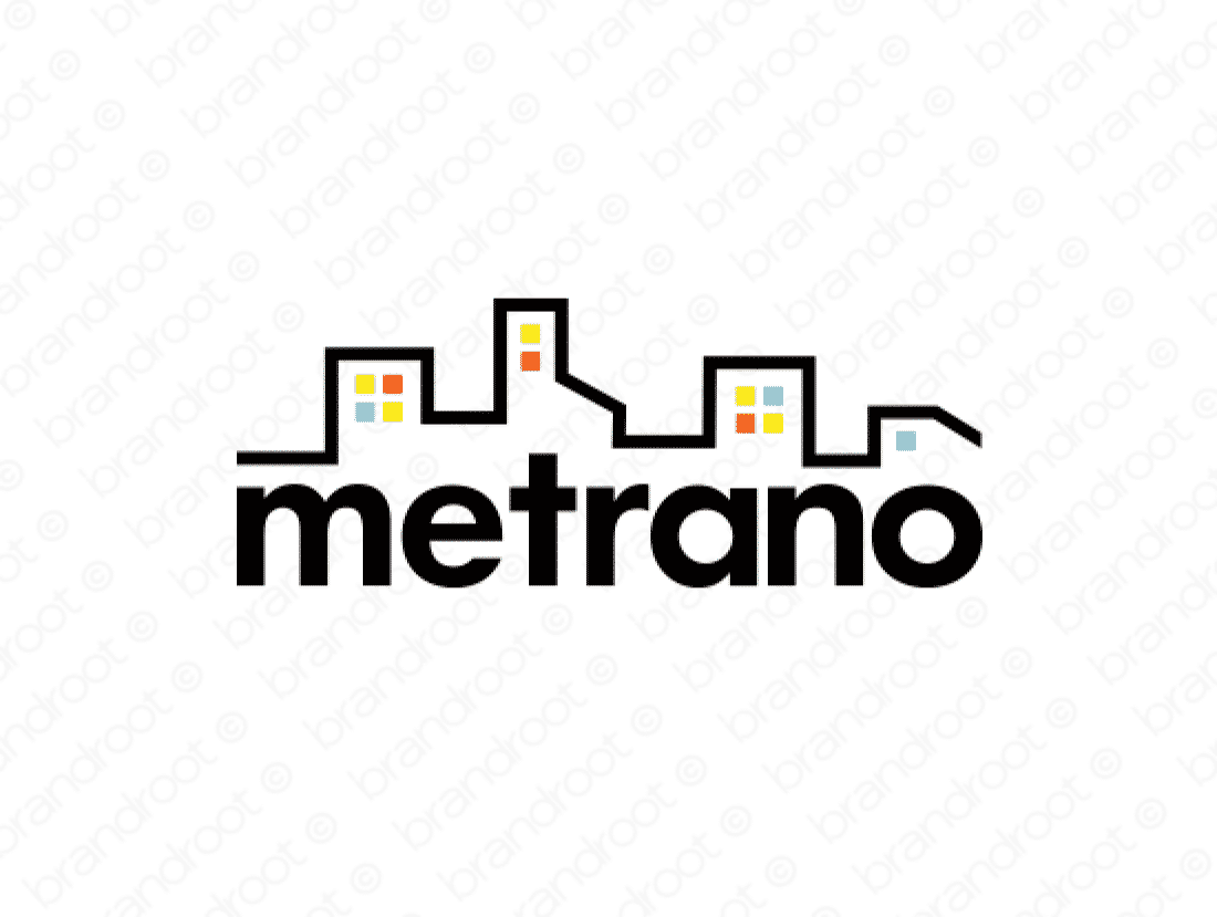 Metrano logo design included with business name and domain name, Metrano.com.