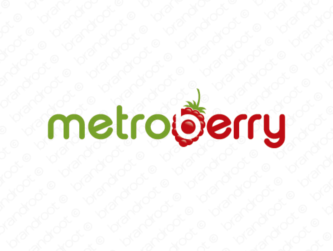 Metroberry logo design included with business name and domain name, Metroberry.com.
