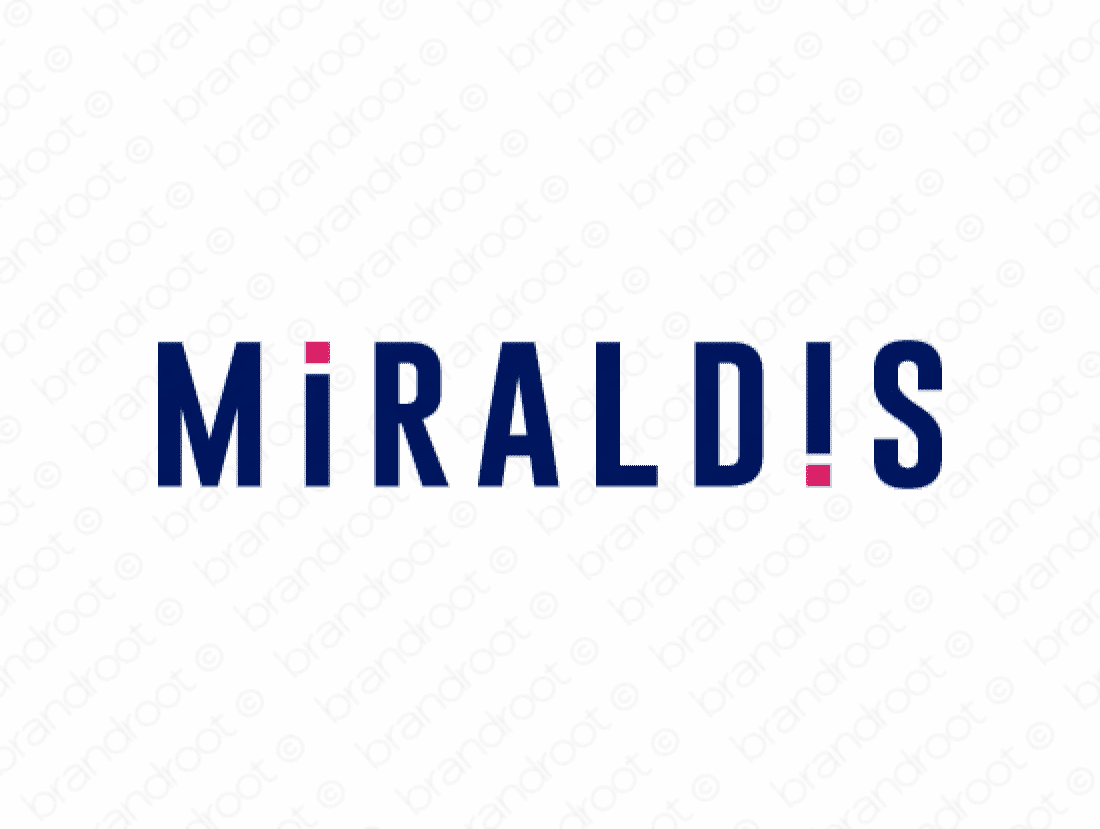 Miraldis logo design included with business name and domain name, Miraldis.com.