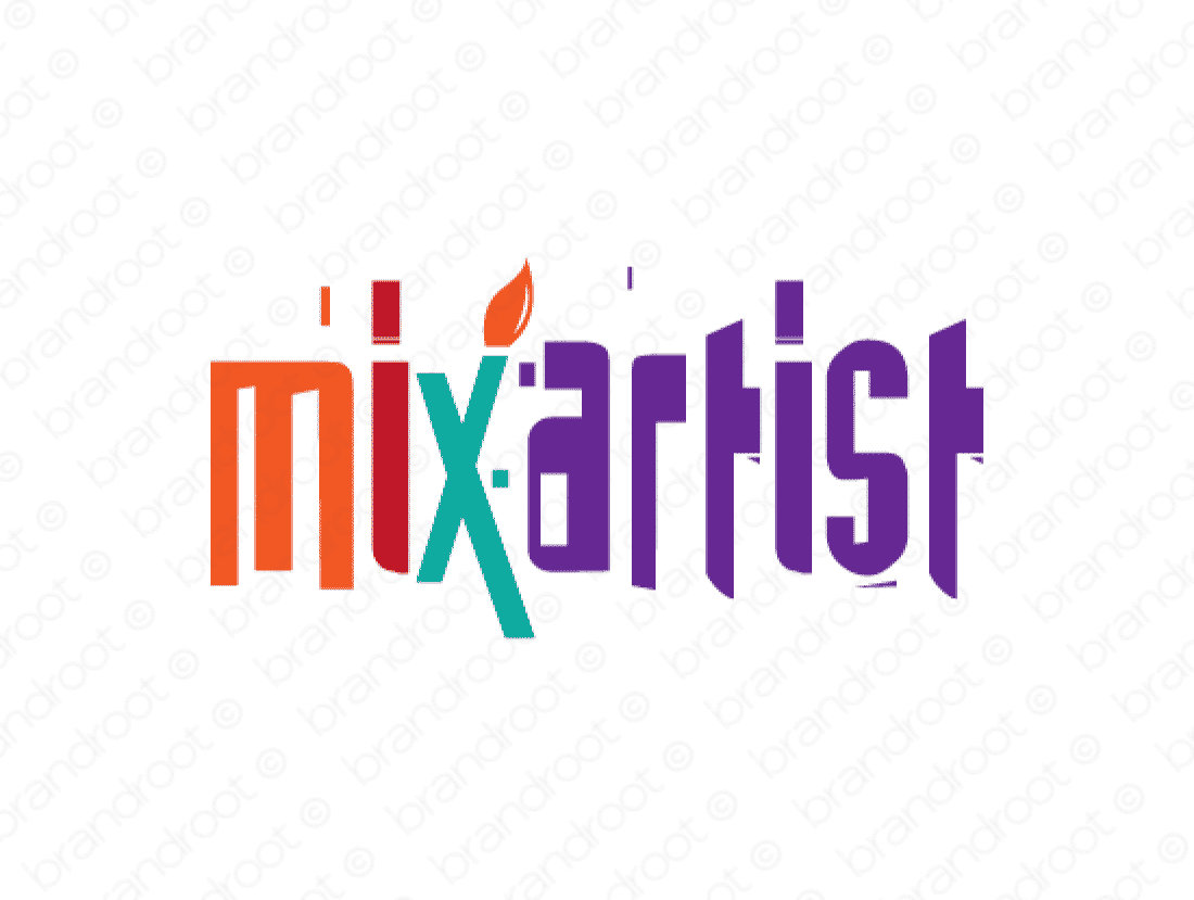 Mixartist logo design included with business name and domain name, Mixartist.com.