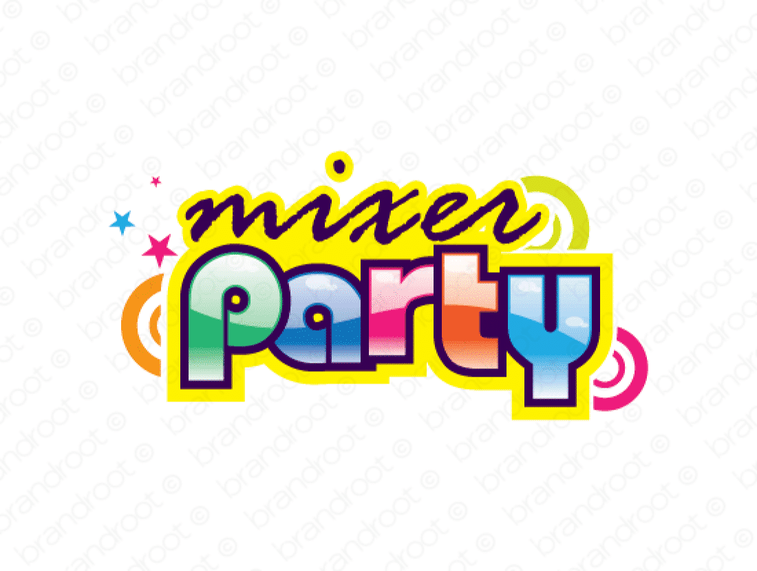 Mixerparty logo design included with business name and domain name, Mixerparty.com.