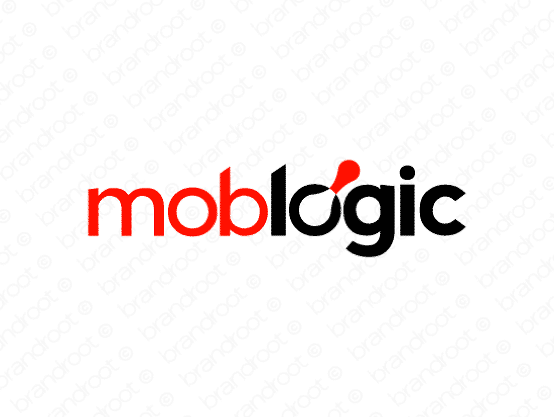Moblogic logo design included with business name and domain name, Moblogic.com.