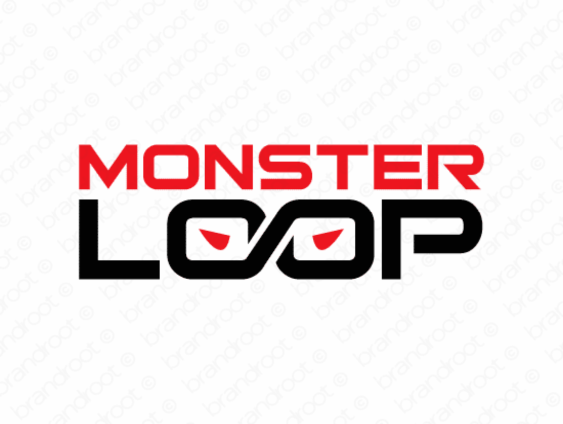Monsterloop logo design included with business name and domain name, Monsterloop.com.