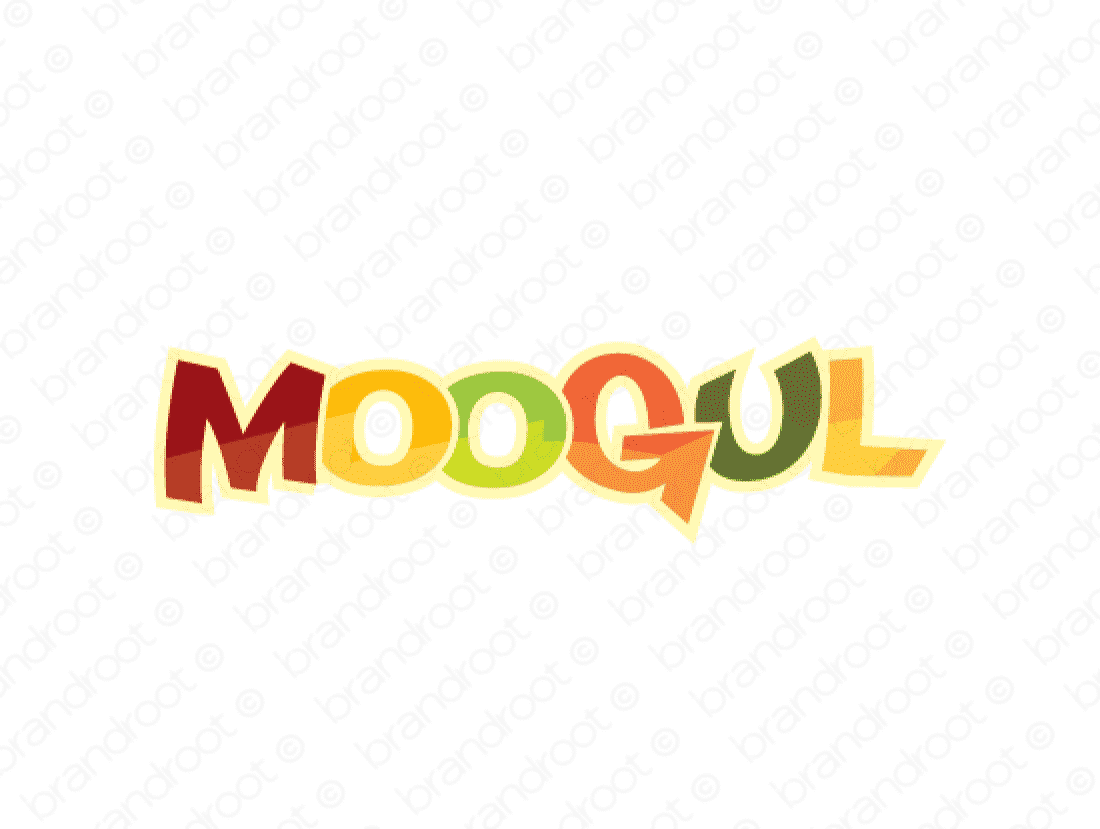 Moogul logo design included with business name and domain name, Moogul.com.
