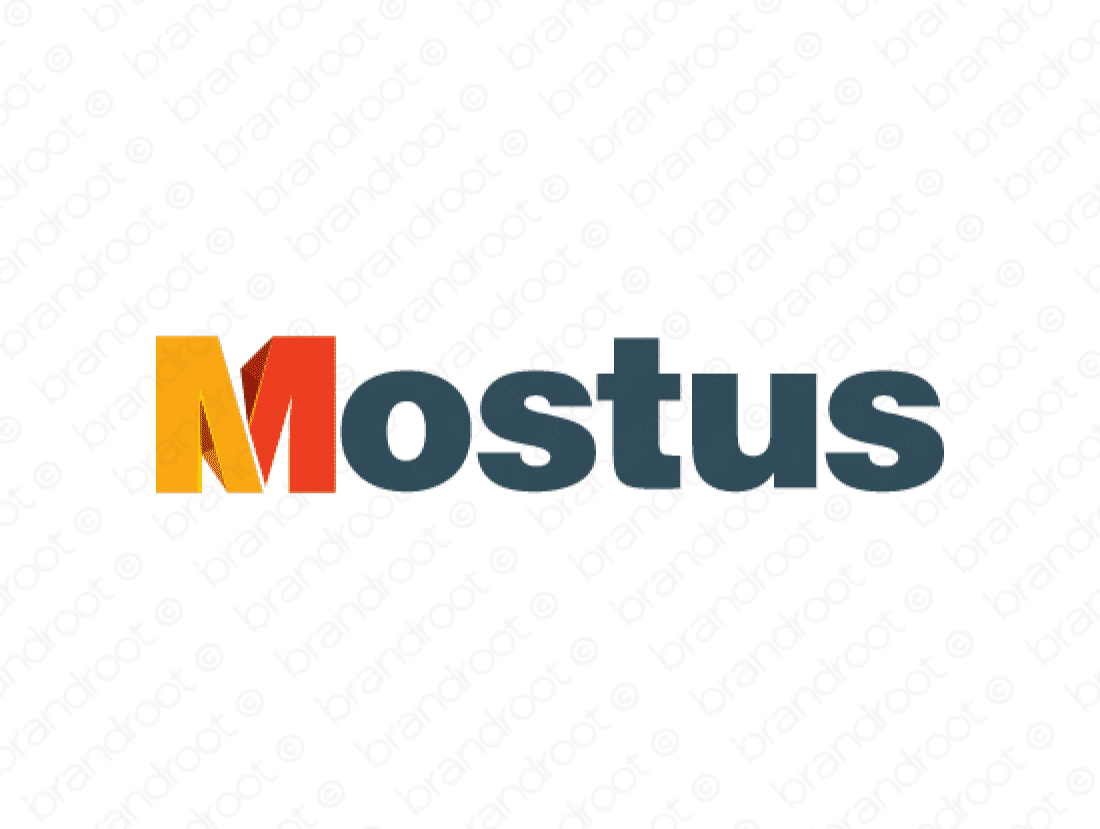 Mostus logo design included with business name and domain name, Mostus.com.