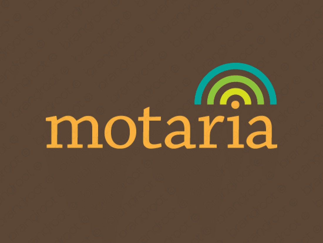 Motaria logo design included with business name and domain name, Motaria.com.