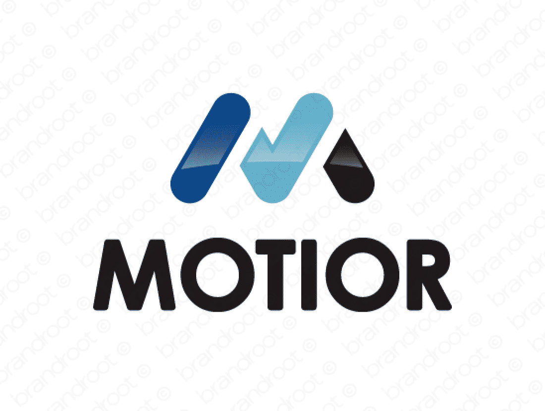 Motior logo design included with business name and domain name, Motior.com.