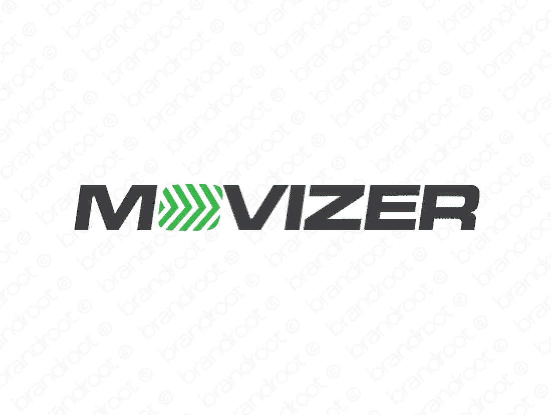 Movizer logo design included with business name and domain name, Movizer.com.